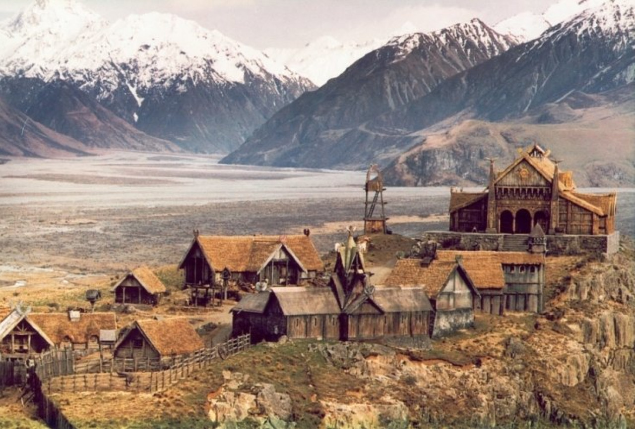 The Golden Hall dominates the stunning set of Edoras.