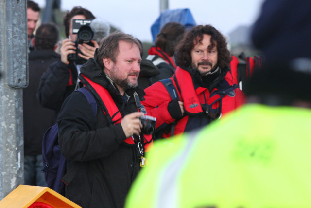 Director Rian Johnson getting ready for the daily journey to the island during filming.