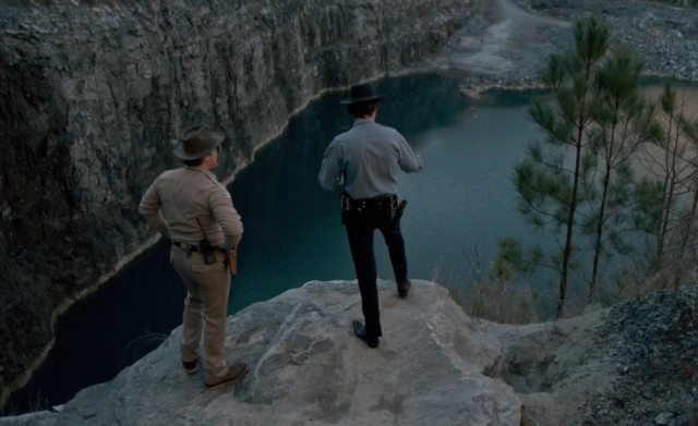 Chief Jim Hopper and Officer Callahan are looking for Will at the quarry.