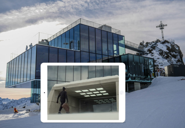 ...Bond enters the clinic. The concrete tunnel entrance was specifically created for filming.