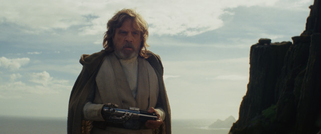 Rey has handed Luke his old lightsabre which she had found earlier on the planet of Takodana.