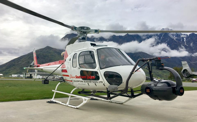 Alfie's office: Airbus AS350 B2 Squirrel with a mounted K1 casing from Shotover Camera Systems