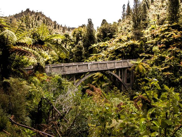 The Bridge to Nowhere spans the Mangapurua Gorge and can be reached on foot or by mountain bike.