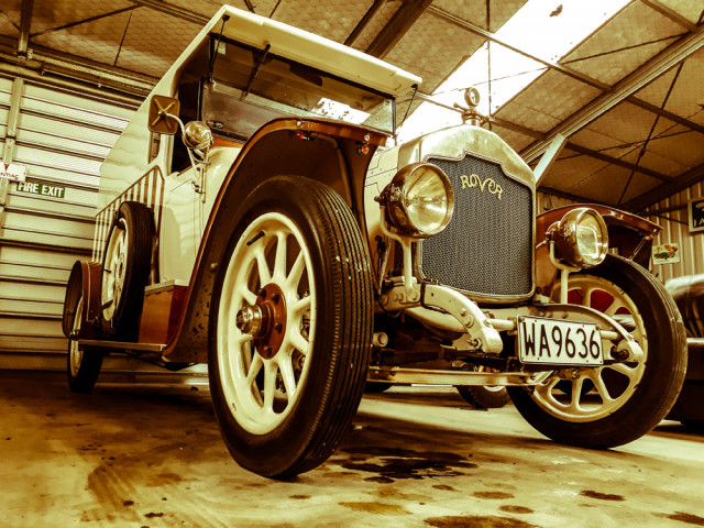 Ed Boyd's private collection showcases over thirty classic cars from mainland Europe and the UK. Two props from River Queen are on display, too - a cannon and a tatooist's horse cart.