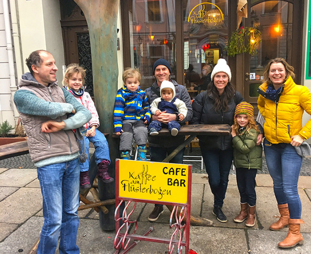 Here we are with our friends Heiko (far left) and Stephanie (far right) in front of café Flübo.