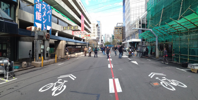 Wellington's Victoria Street was one of the few real locations used in Ghost in the Shellbut it first had to be converted into a Hong Kong-style road.