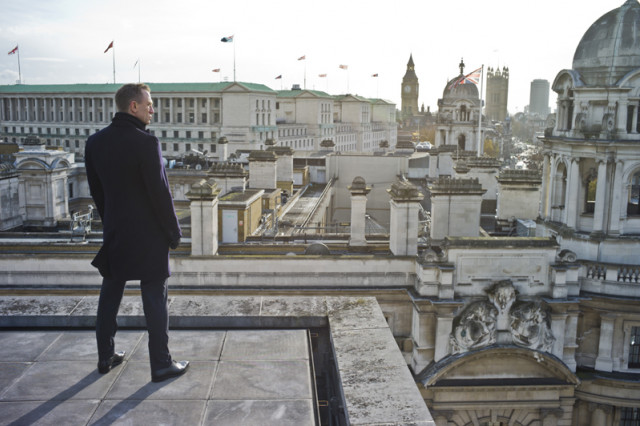 Bond looking over London in Skyfall.