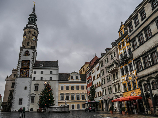 Looking towards the historic town hall with its clocktower.