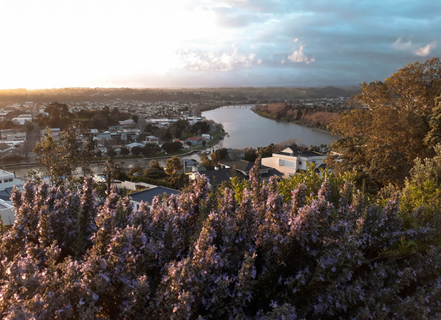 The view from Durie Hill towards the city of Whanganui and the Whanganui River.