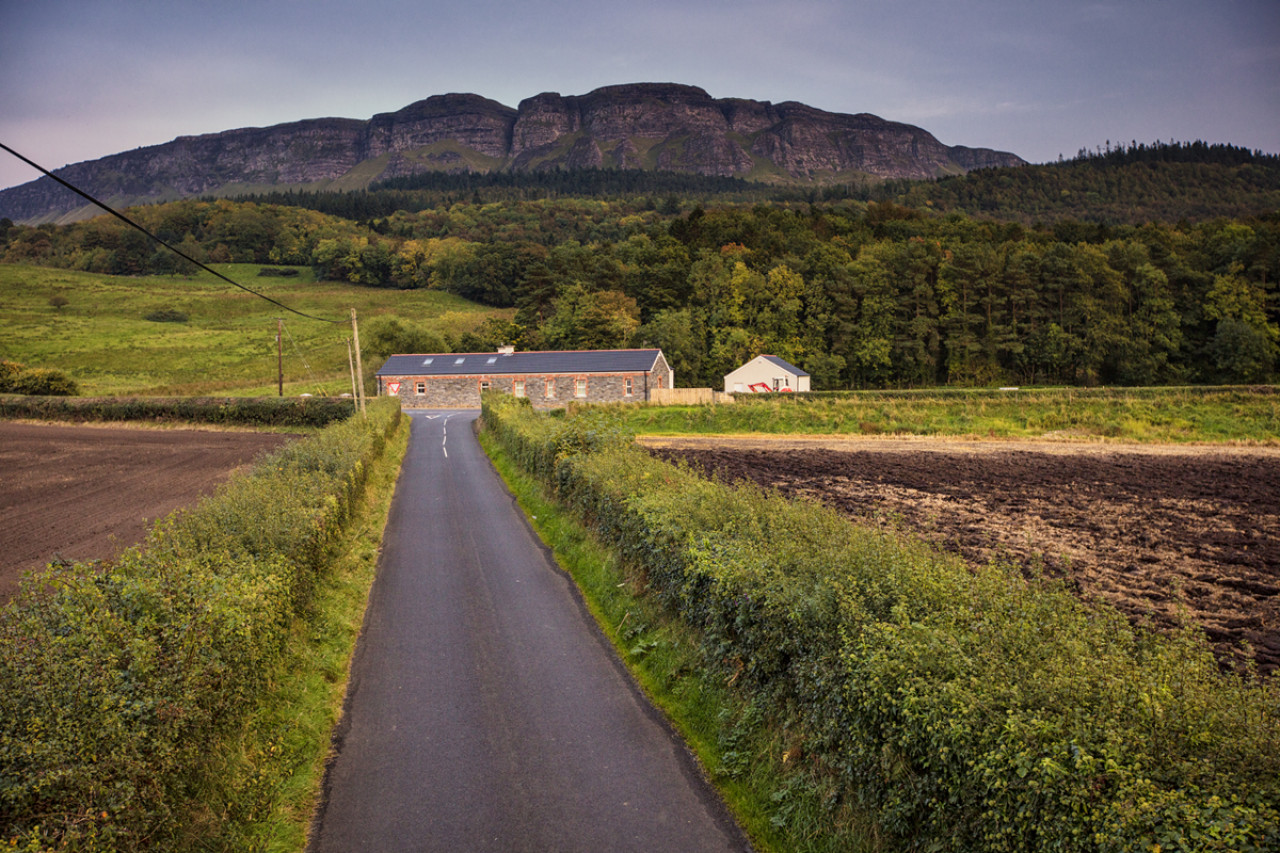 The Binevenagh Mountain (385 metres) towers over the surrounding coastal plains.