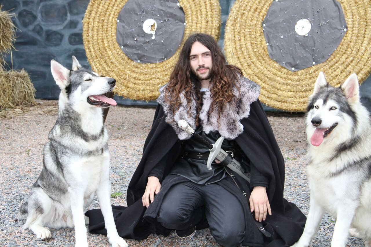 Fan with Direwolf dogs Odin and Thor