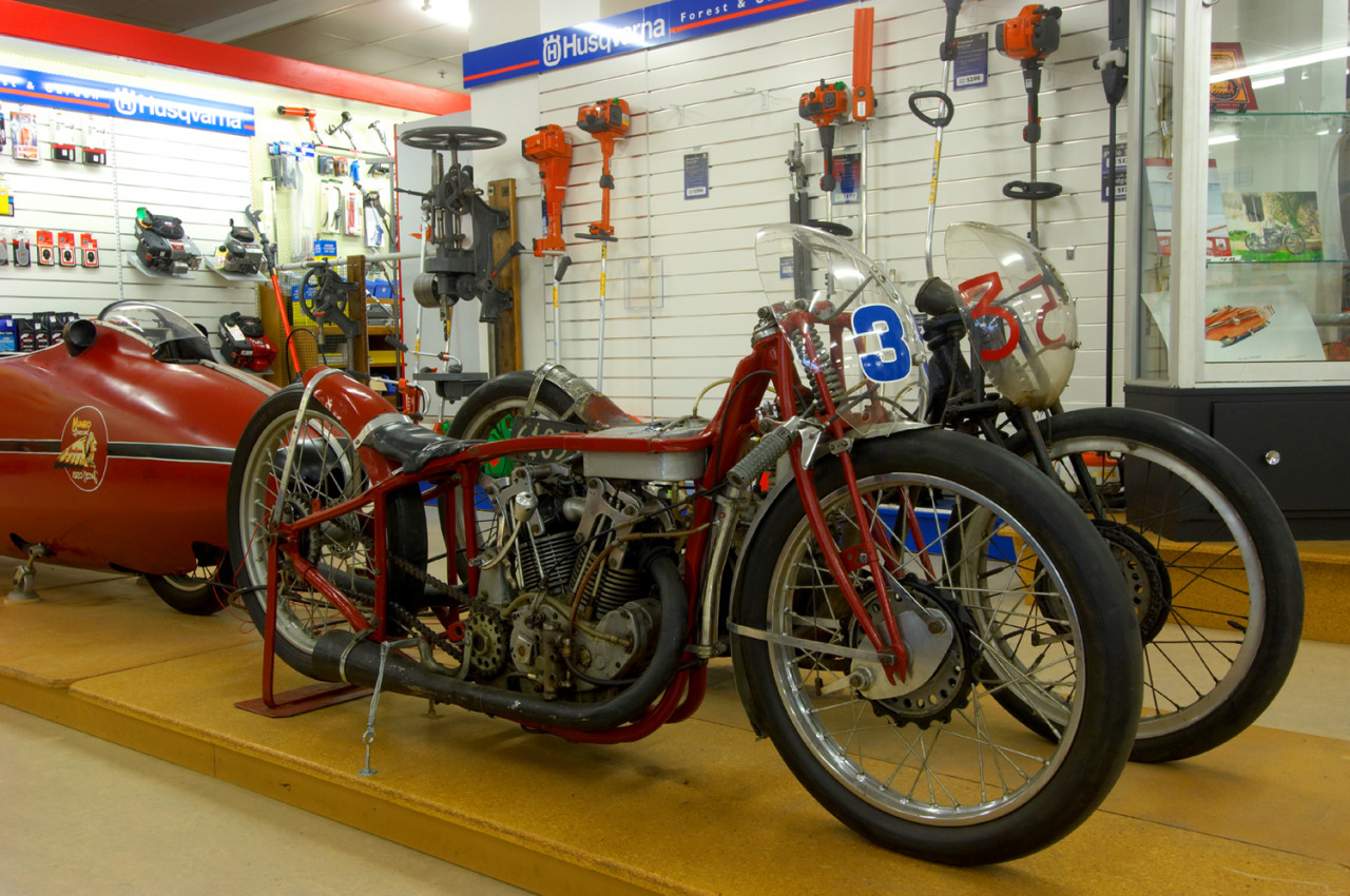 Burt's 'Munro Special Indian Scout' in situ, but without the streamliner shell. Behind is his second bike, the Velocette.
