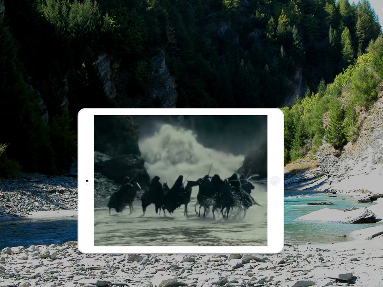 The Nazgûl turn their horses to flee from the flood.