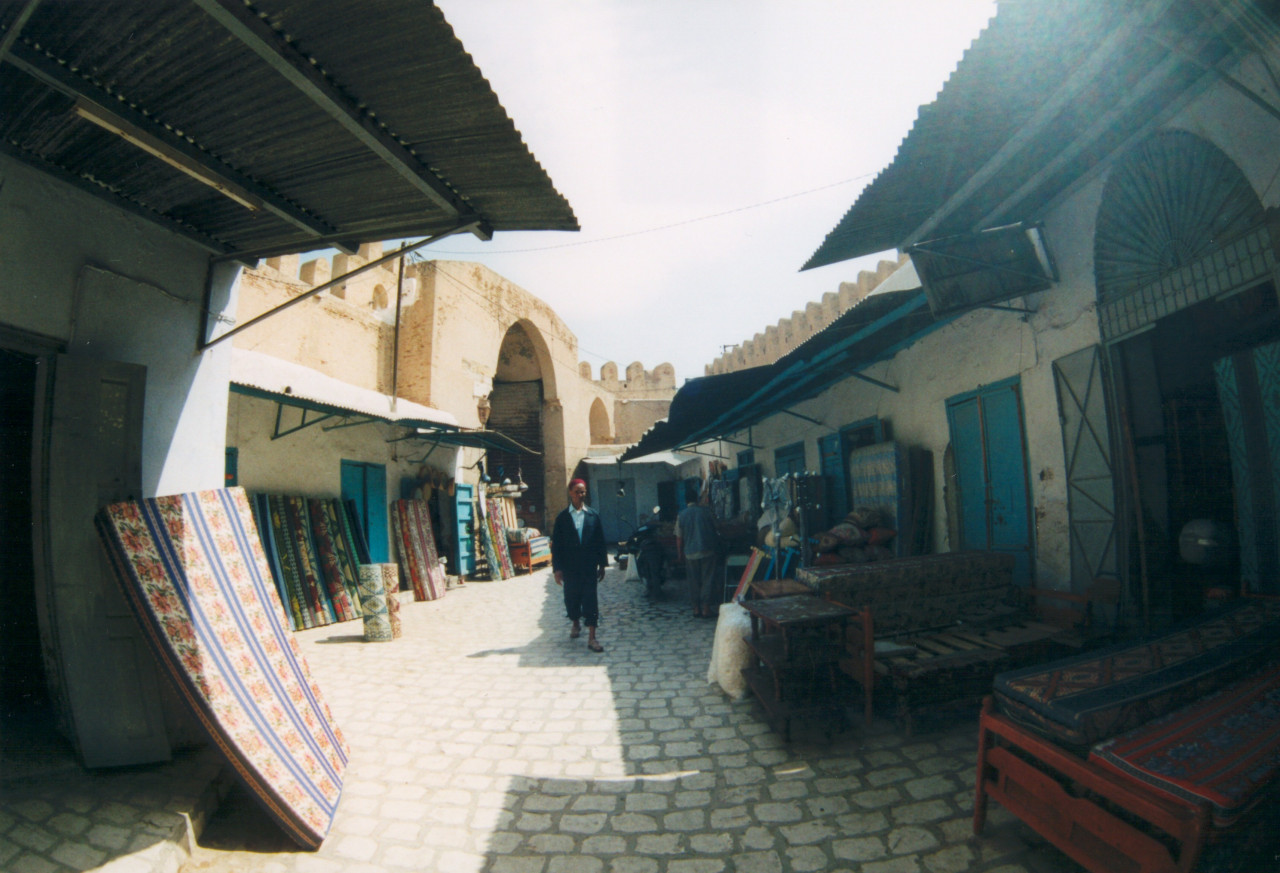 Street scene in Kairouan's medina.