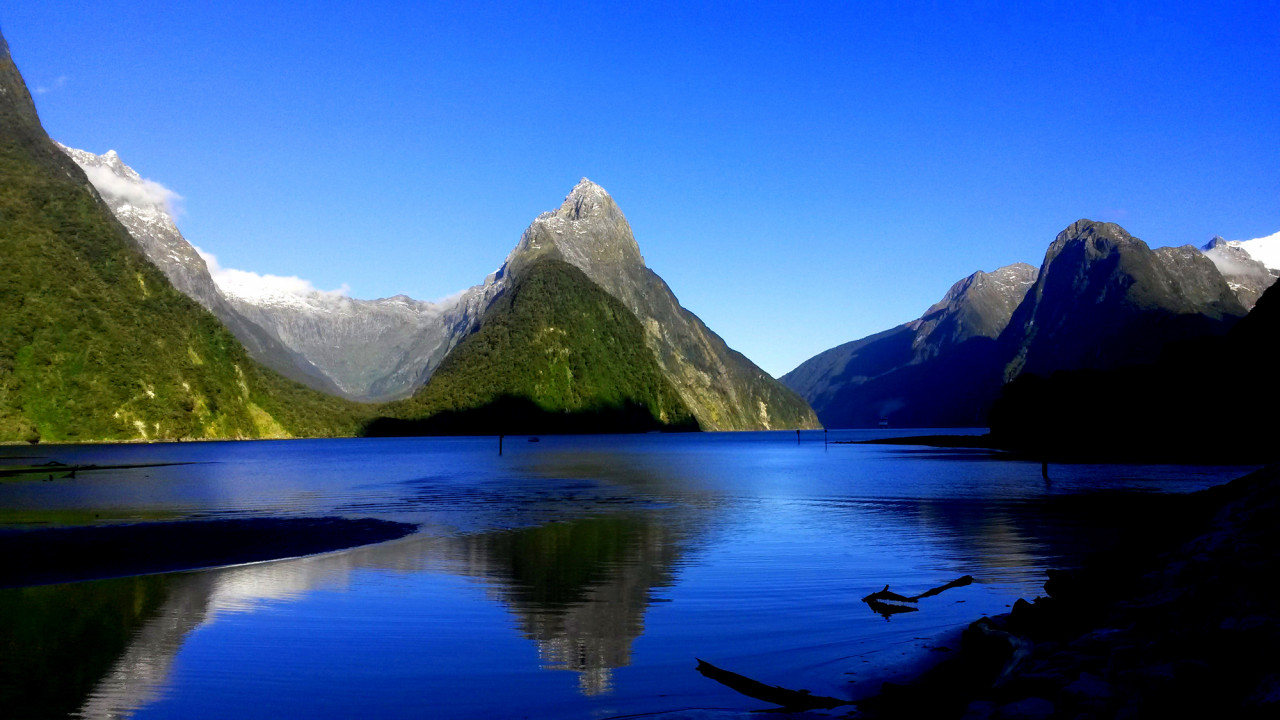 Milford Sound in all it's glory, with the iconic Mitre Peak in the centre.