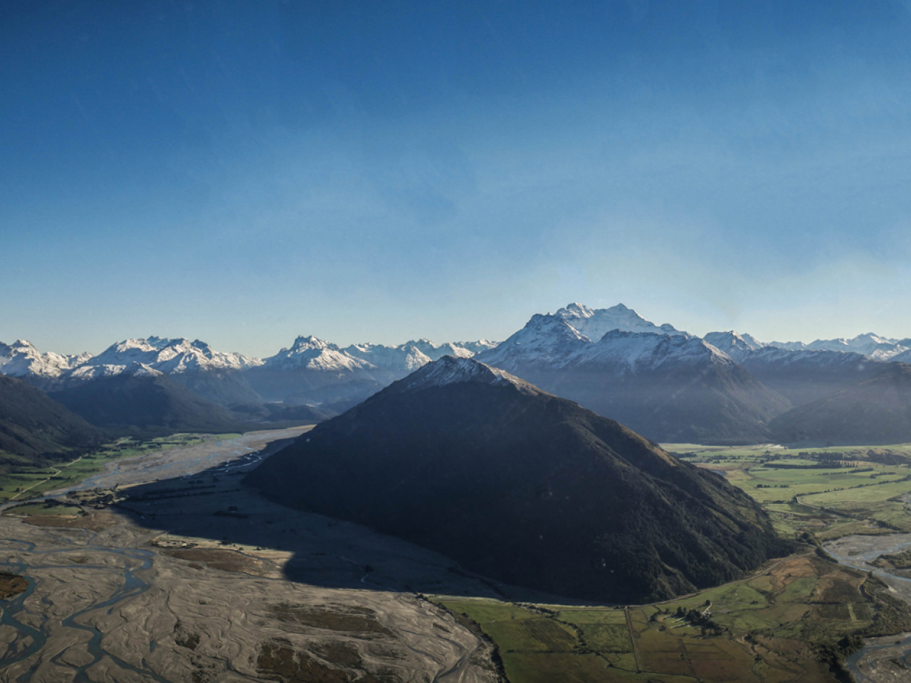 Mount Earnslaw as seen from the helicopter.