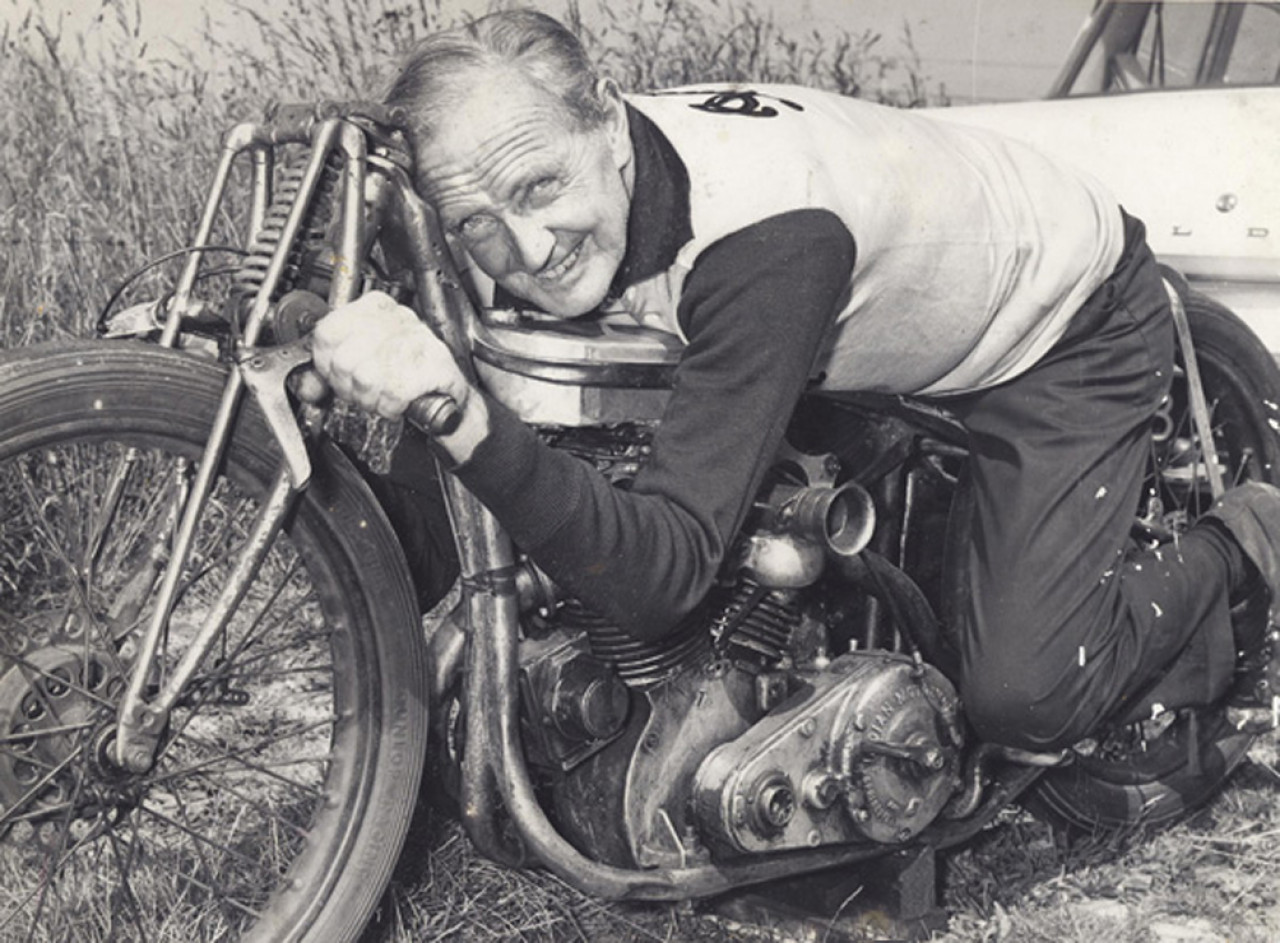 Burt on his Munro Indian Scout Special.