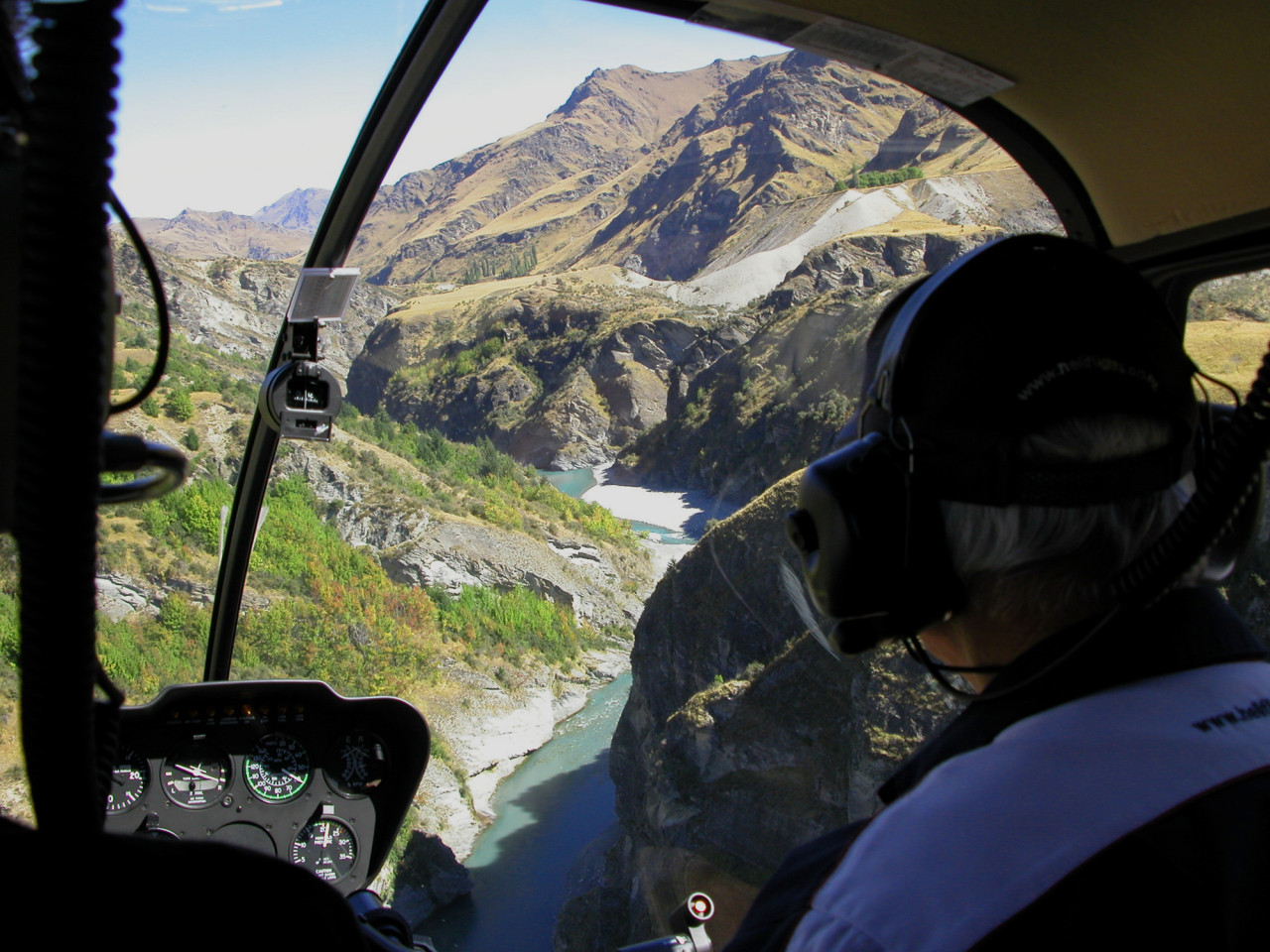 Flying along the Shotover River.