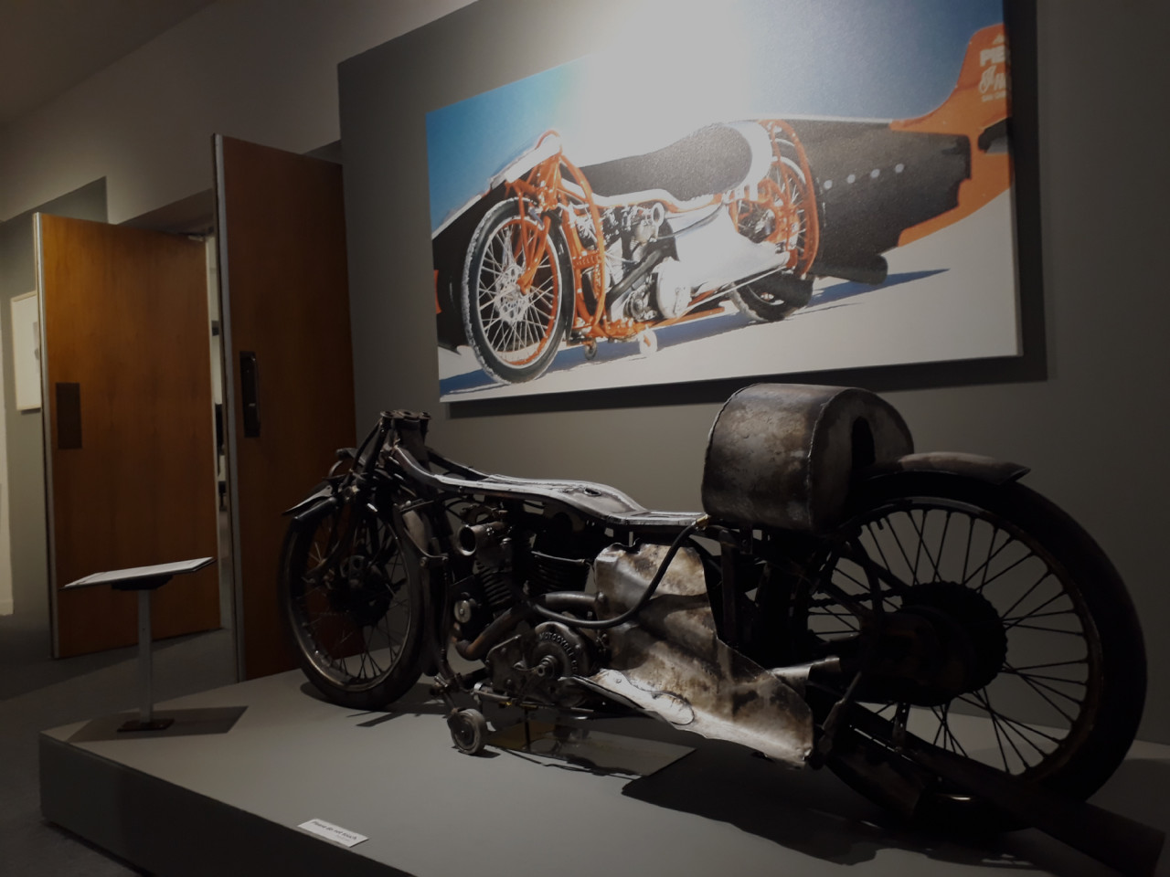 The replica of Burt Munroe's motorcycle.