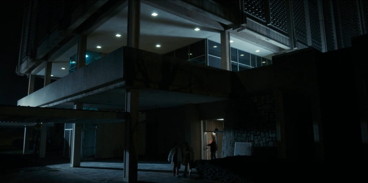 Hopper sneaks into the main lab building.