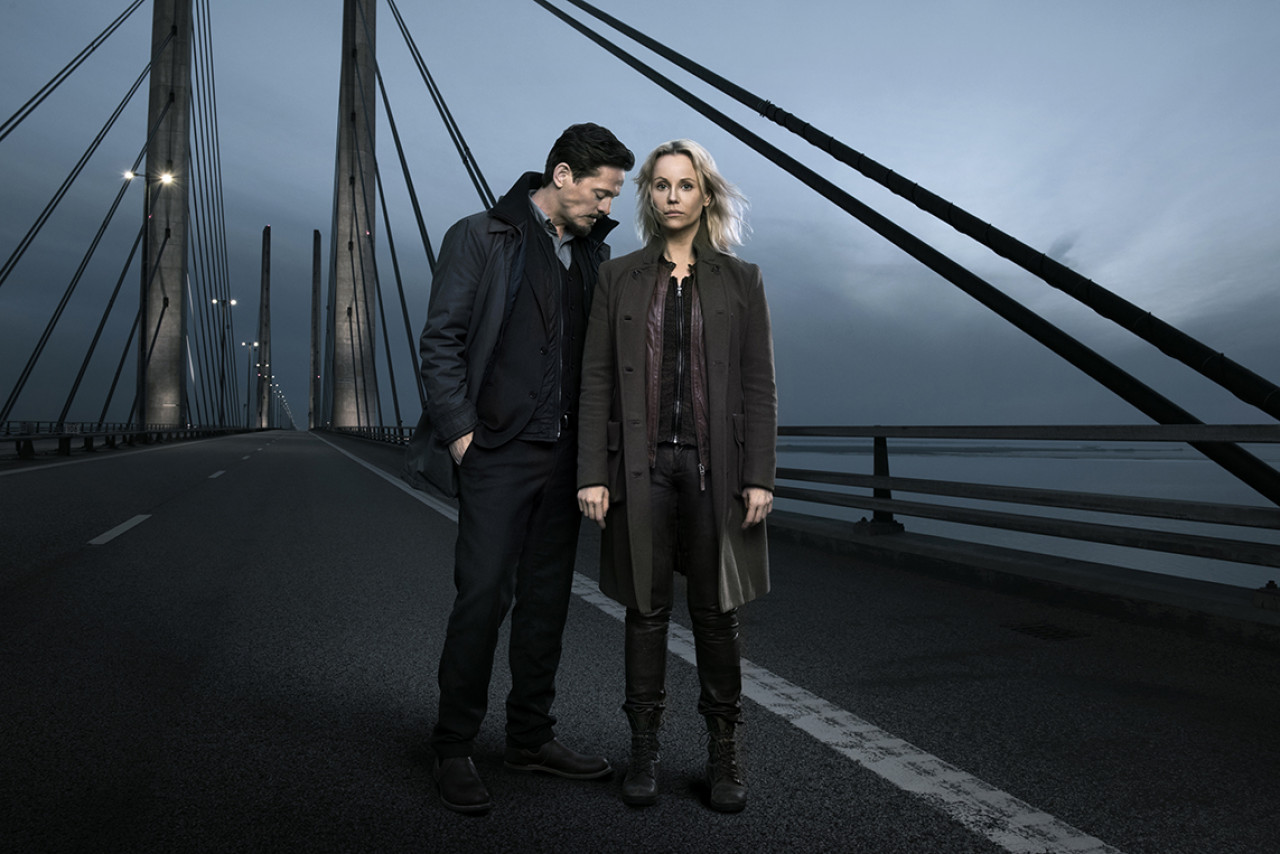 The two main protagonists from Seasons 3 and 4: Swedish investigator SagaNorén and her Danish colleague Henrik Sabroe.