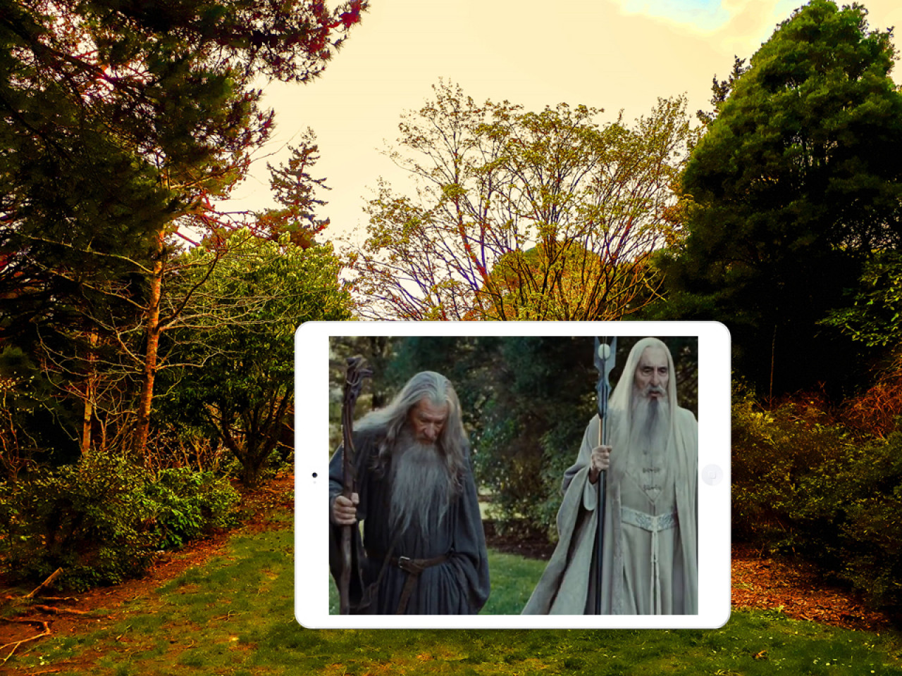 """Saruman: """"So the ring of power has been found?"""" Gandalf: """"All these long years it was in the Shire, under my very nose."""" Saruman: """"And yet you did not have the wit to see it! Your love of the Halfling's leaf has clearly slowed your mind."""" Gandalf: """"We still have time...time enough to counter Sauron...if we act quickly."""" Saruman: """"Time? What time do you think we have?"""""""