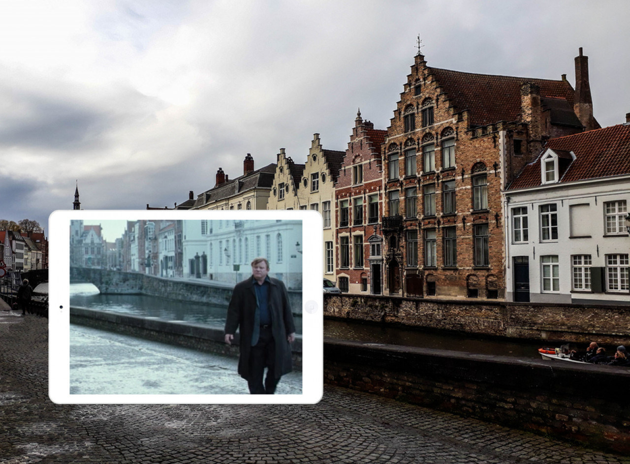 Ken walks along along Spinolarei street, behind him is Jan Van Eyckplein square.
