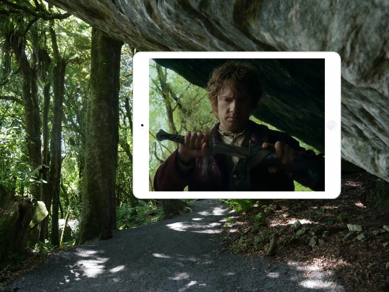 A pivotal moment: Bilbo takes possession of the magic sword 'Sting'.