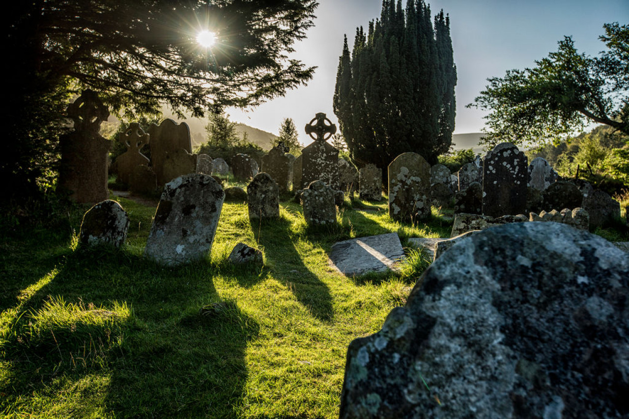 Part of the cemetery with its famedceltic crosses.
