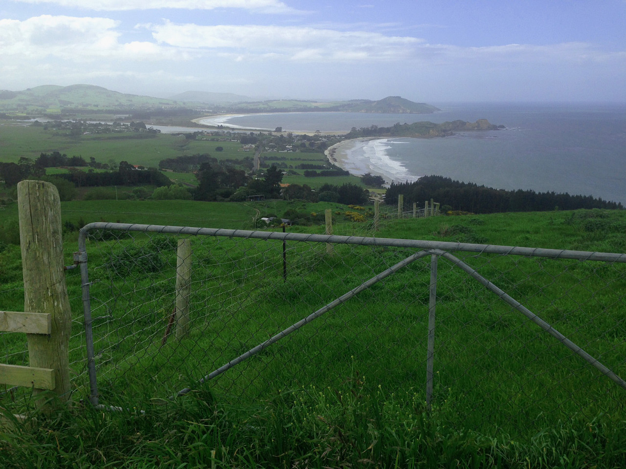Puketeraki lookout: Karitane in the distance.