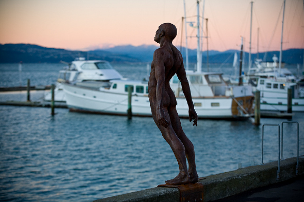 This iconic sculpture bears the title Solace in the Wind. Locals just call it The Naked Man.