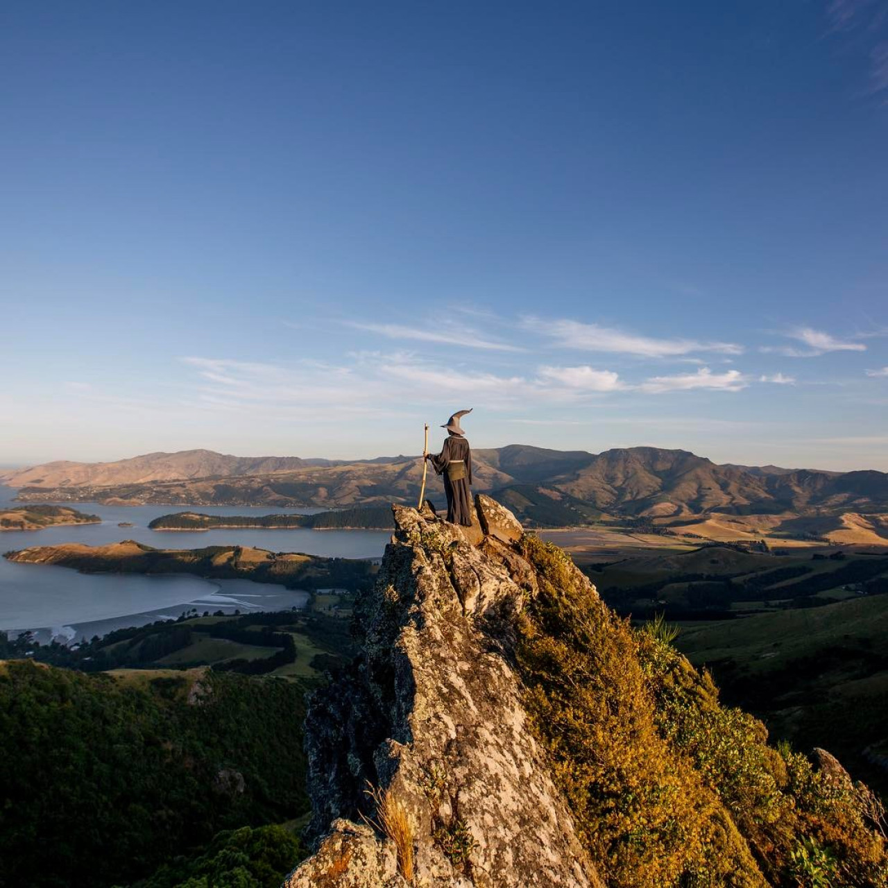 #GandalfTheGuide admires the Port Hills above Christchurch, New Zealand