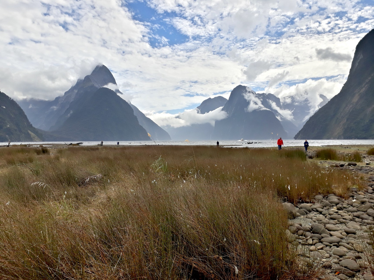 Milford Sound shrouded in wispy cloud. You can check out the actual filming location here.