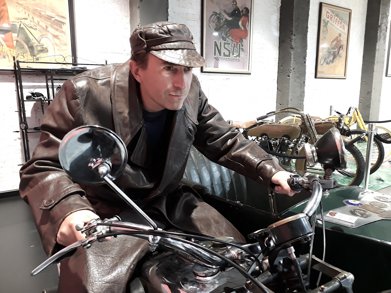 Stefan channelling the spirit of Invercargill at the Motorcycle Mecca.