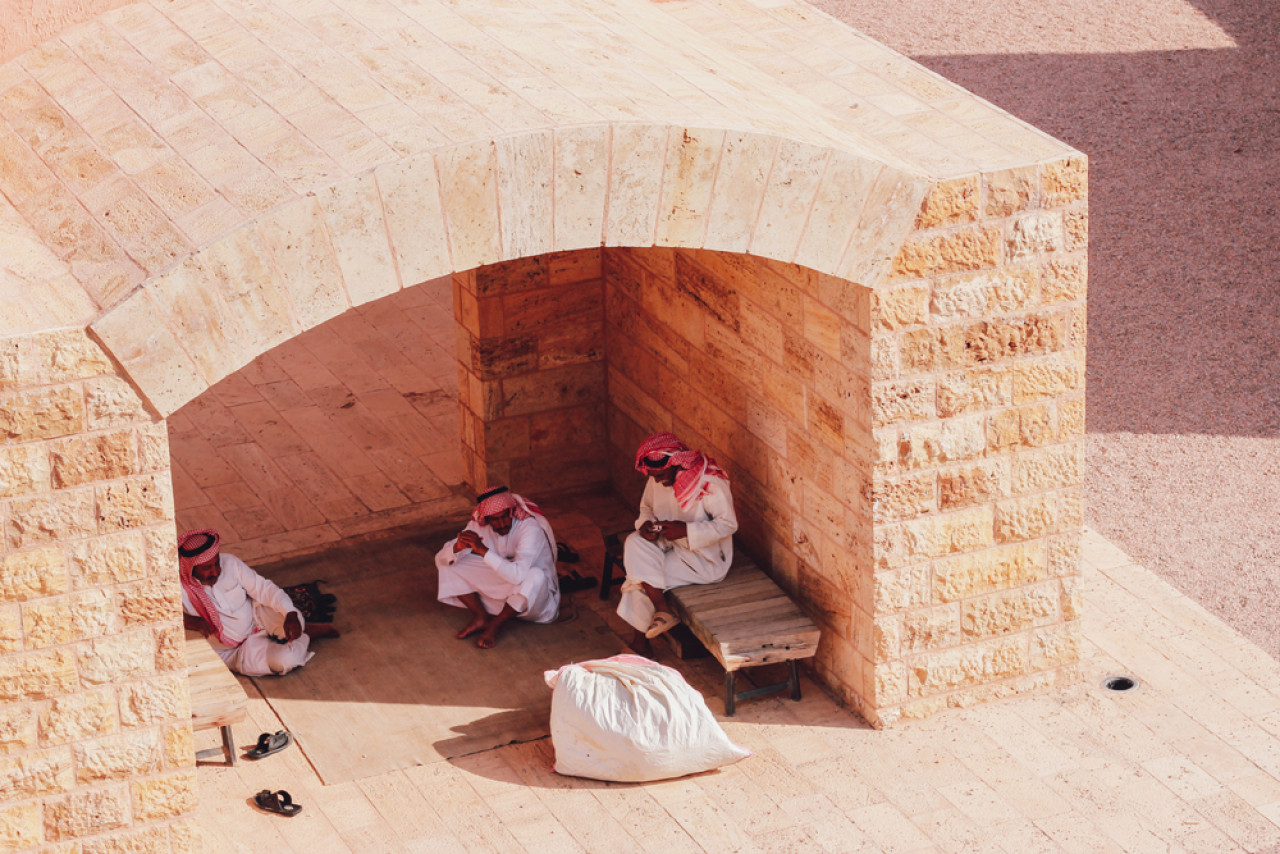 A Bedouin outpost in Wadi Rum provides shelter from the summer heat.