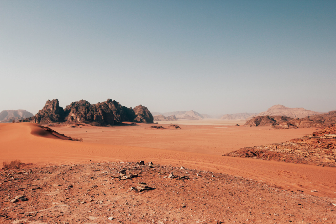 "Typical Wadi Rum scenery that reminds me of T.E. Lawrence's dialogue from Lawrence of Arabia. ""What is it, Major Lawrence that attracts you personally to the desert?"" T.E. Lawrence: ""It's clean."""