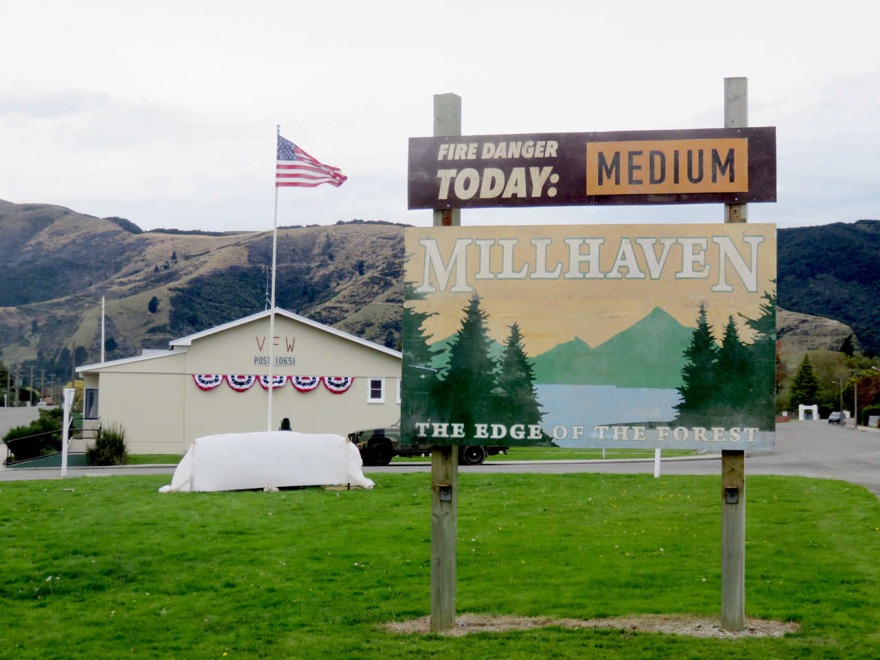 Welcome to Millhaven, aka: Tapanui in West Otago, New Zealand. This sign was put up for the duration of the filming.