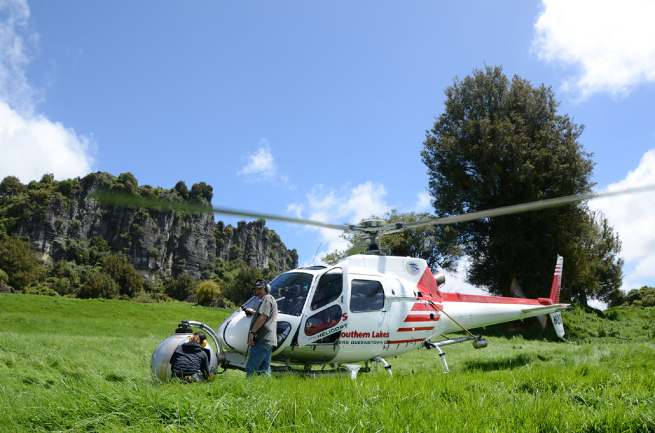 The helicopter for the aerial filming was flown by Alfie Speight from Glacier Southern Lakes Helicopters, who is one of the world's most experienced pilots in this field.