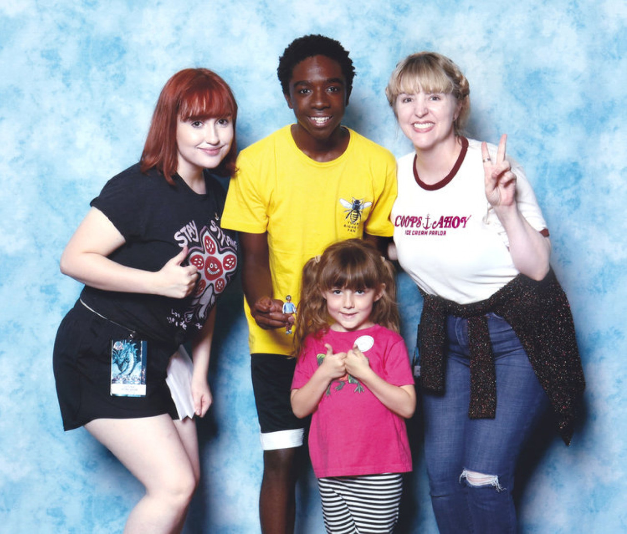 Tori, 'mascot' Kilby and Ash with Caleb McLaughlin (Lucas).