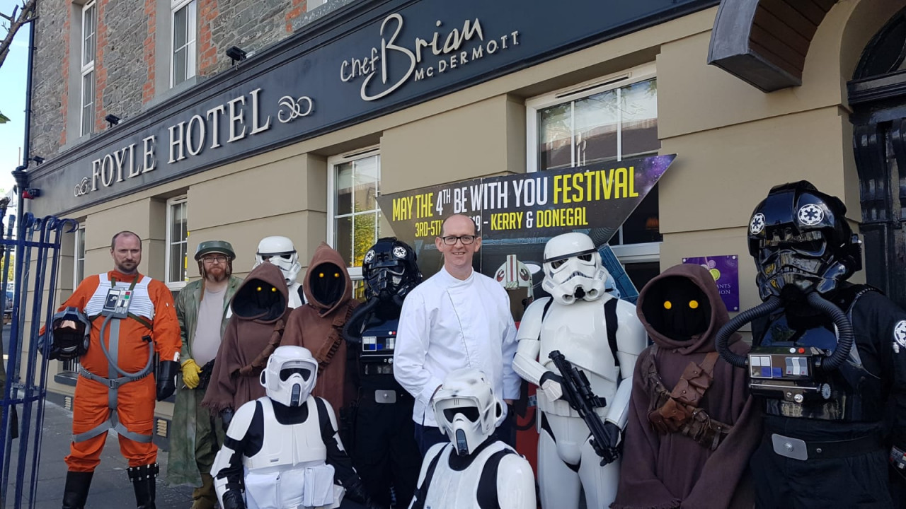 The 501st legion dropped by Moville, Inishowen, to take a selfie with Chef Brian McDermott.