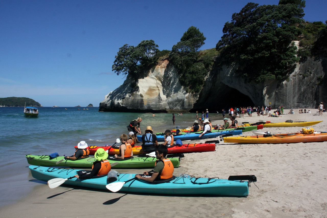 Kayak tours on the beach.