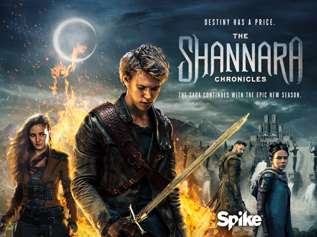 In the Shannara Chronicles, the druid Allanon is mentor to Will Ohmsford (middle, played by Austin Butler) and his daughter Mareth (right).