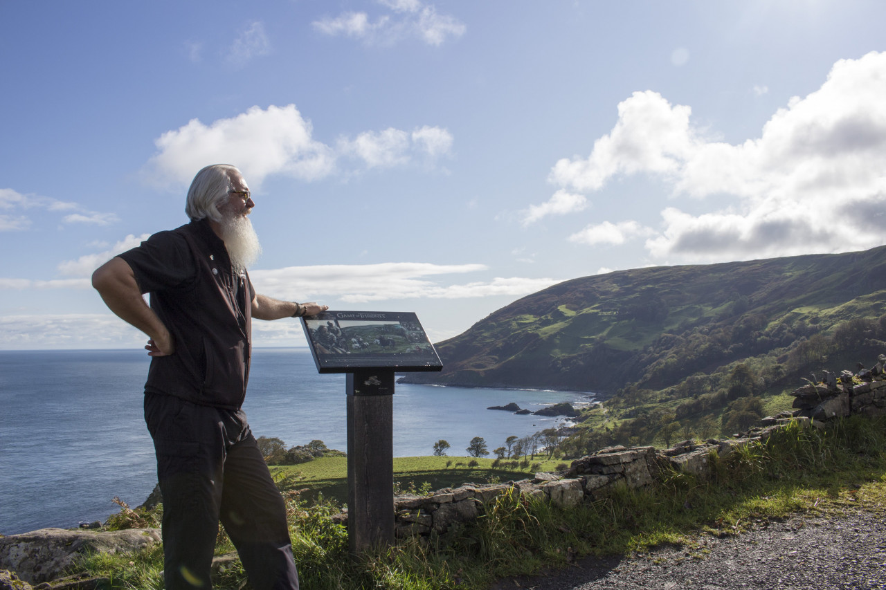 Flip at a viewing point overlooking Murlough Bay.