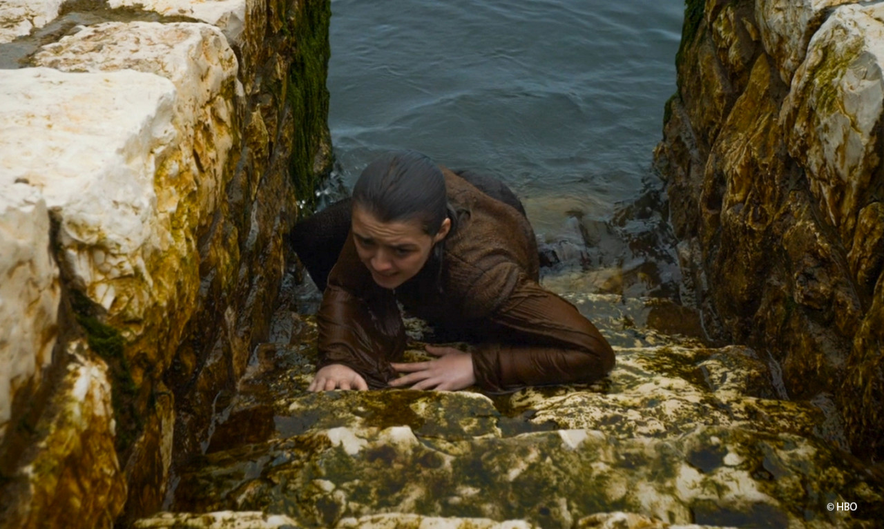 Braavos: Arya climbing out of the water.