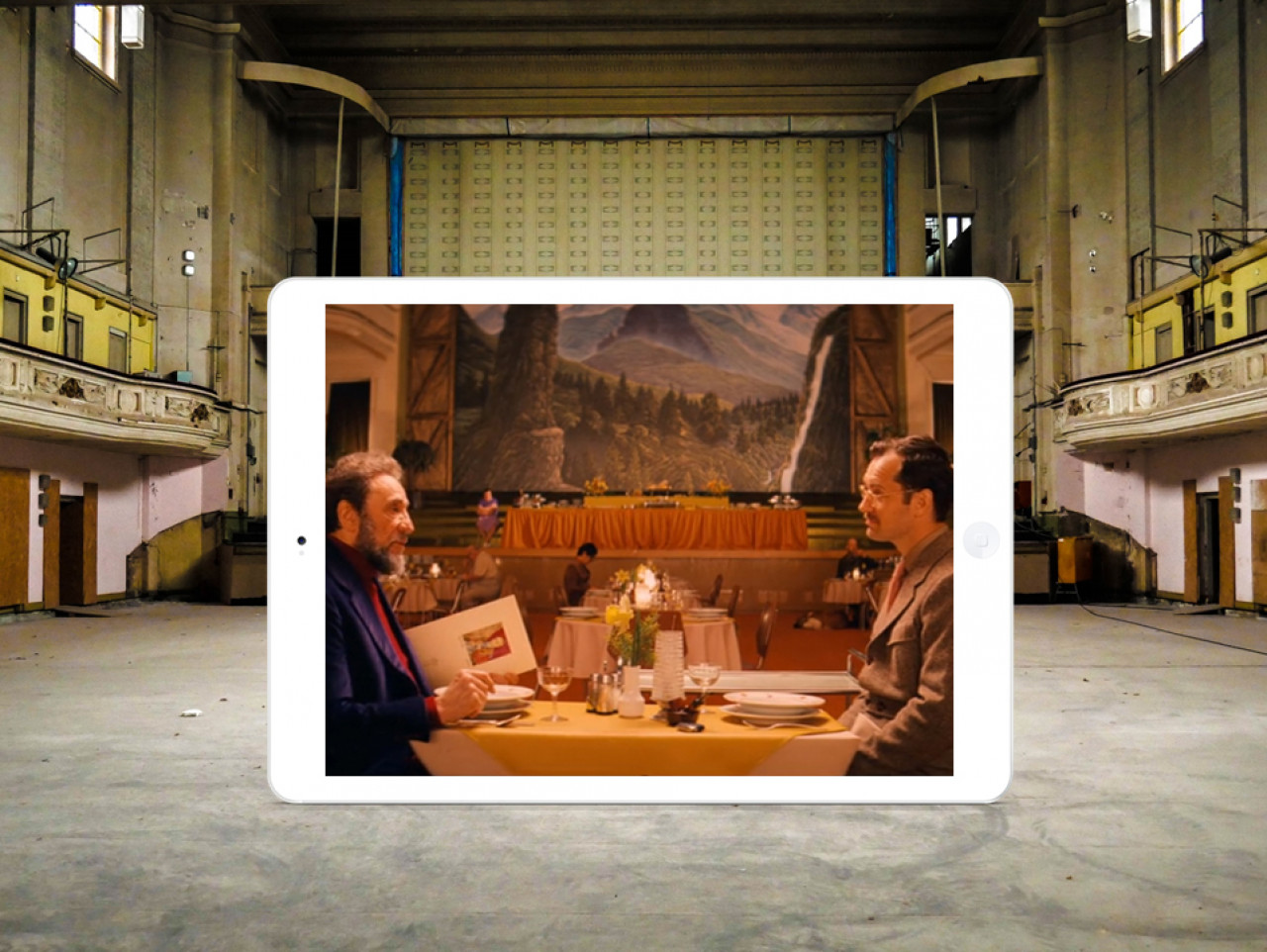 This photo was taken inside the Stadthalle (currently closed to the public due to renovations). Over dinner, Zero Mustafa tells the writer how he took ownership of the Grand Budapest and why he is determined to keep it open at all costs.