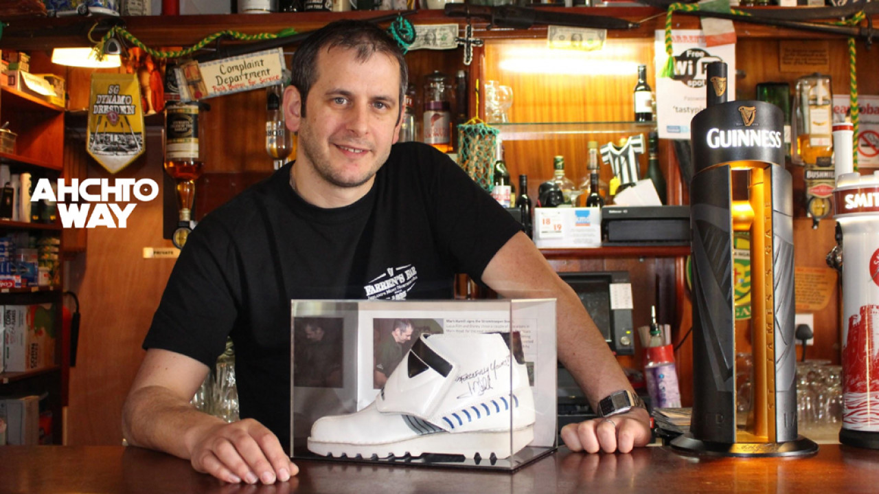 Hugh Farren with the signed Stormtrooper boot.