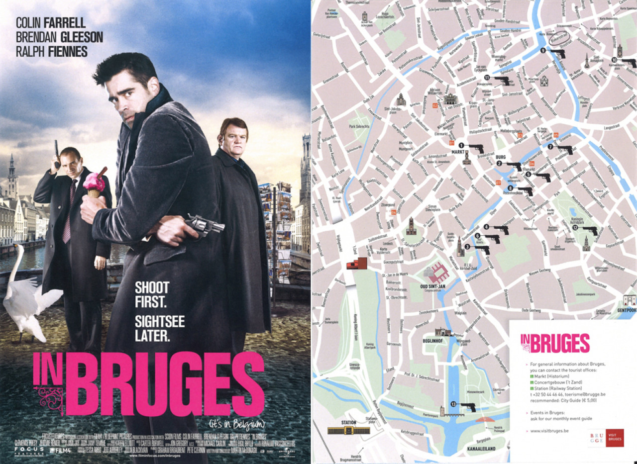 The city of Bruges has published a movie map, pointing out a number of locations from the film.