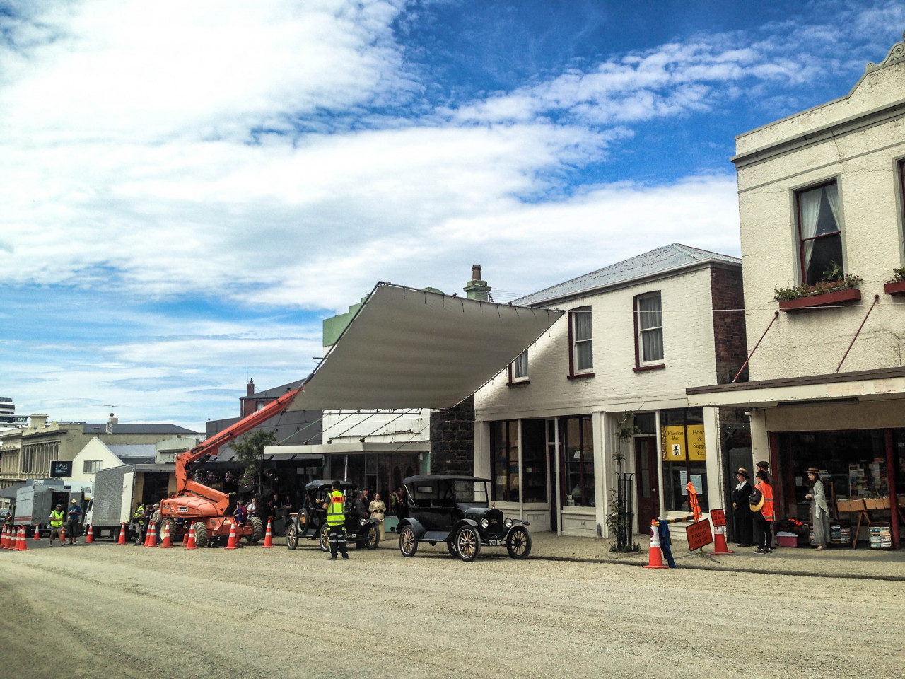 The main street of Port Chalmers during filming.