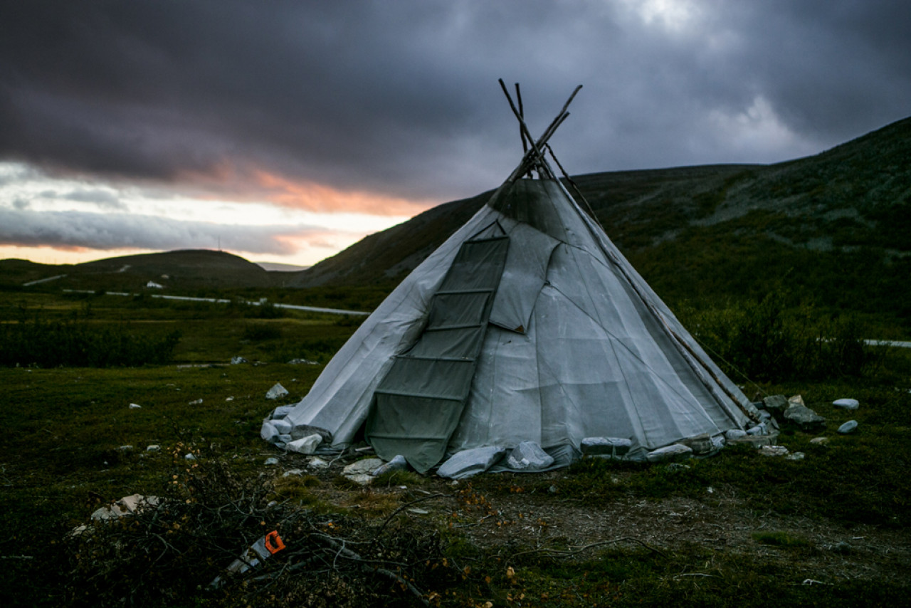 The traditional lavvus tent of the Sámi.