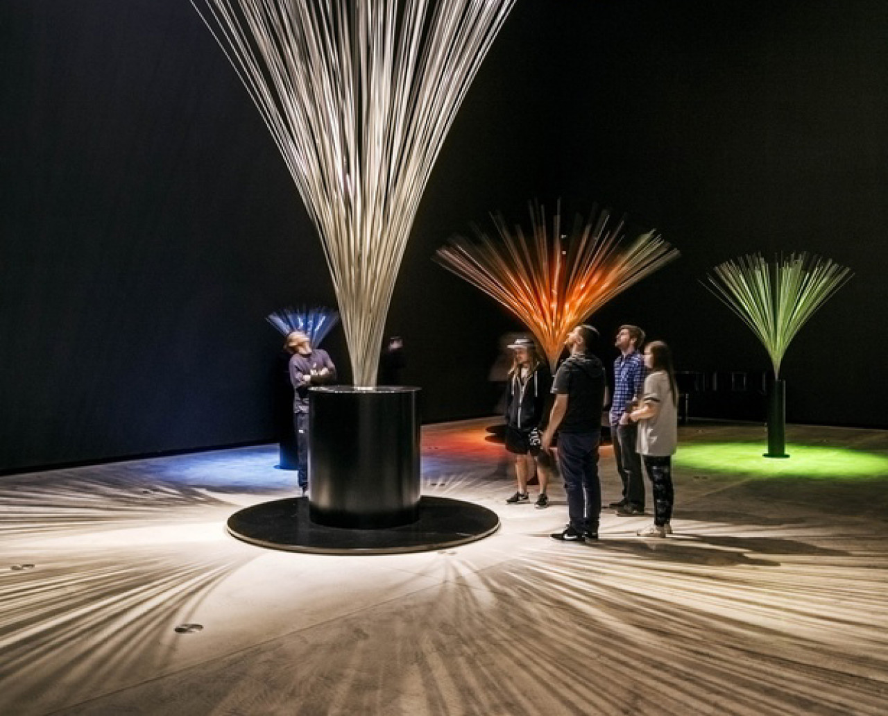 Some of Lye's kinetic exhibits: Fountain III from 1976, made from stainless steel rods. A motor rotates the metal rods, creating the illusion of a jet of water.